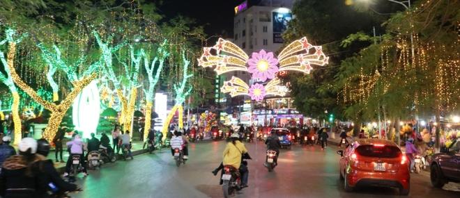 Hoa trang trí đường phố bằng đèn Led