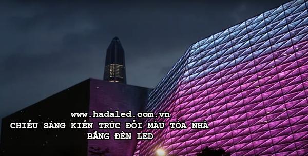 Chiếu sáng kiến trúc đổi màu tòa nhà bằng đèn led
