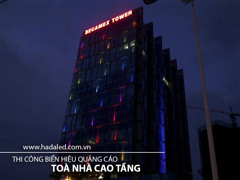 Thi công biển hiệu quảng cáo toà nhà cao tầng